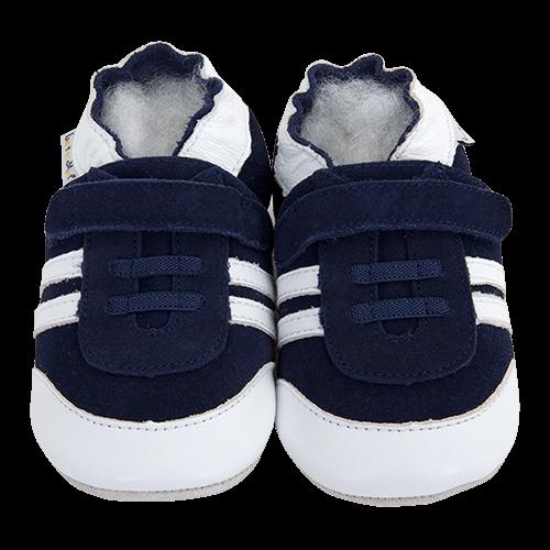 grande vente 3b504 630af Chaussons bébé et enfant en cuir souple - Baskets marine