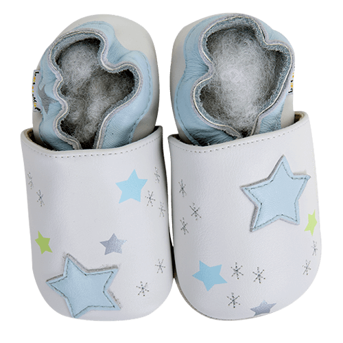 f892dacb0830f Chaussons bébé et enfant en cuir souple - Ciel polaire